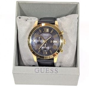 Guess Black Genuine Leather Strap Chronograph